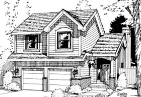 Traditional House Plan 69033 with 4 Beds, 3 Baths, 2 Car Garage Elevation
