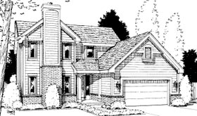 House Plan 69047 | Traditional Style Plan with 1672 Sq Ft, 3 Bedrooms, 3 Bathrooms, 2 Car Garage Elevation