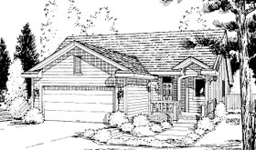 House Plan 69049 | Ranch Style Plan with 1333 Sq Ft, 2 Bedrooms, 2 Bathrooms, 2 Car Garage Elevation