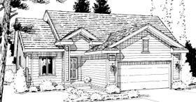 House Plan 69050 | Ranch Style House Plan with 1398 Sq Ft, 2 Bed, 2 Bath, 2 Car Garage Elevation