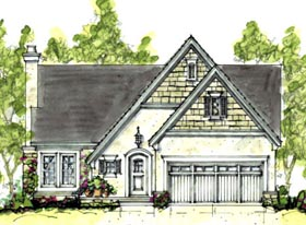 House Plan 69074 | Cottage Craftsman European Style Plan with 1820 Sq Ft, 4 Bedrooms, 3 Bathrooms, 2 Car Garage Elevation