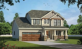 House Plan 69083 | Craftsman Style House Plan with 1699 Sq Ft, 3 Bed, 3 Bath, 2 Car Garage Elevation