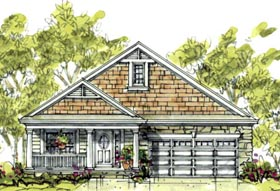 House Plan 69088 | Country Craftsman Style Plan with 1344 Sq Ft, 1 Bedrooms, 2 Bathrooms, 2 Car Garage Elevation
