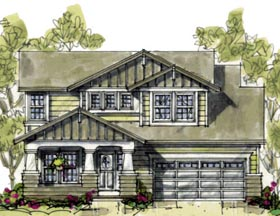 House Plan 69091   Craftsman Style Plan with 2164 Sq Ft, 4 Bedrooms, 3 Bathrooms, 2 Car Garage Elevation