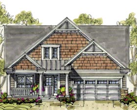 House Plan 69092 | Country Craftsman Style Plan with 2126 Sq Ft, 4 Bedrooms, 3 Bathrooms, 2 Car Garage Elevation