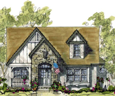 Cottage, Craftsman House Plan 69093 with 4 Beds, 3 Baths, 2 Car Garage Elevation