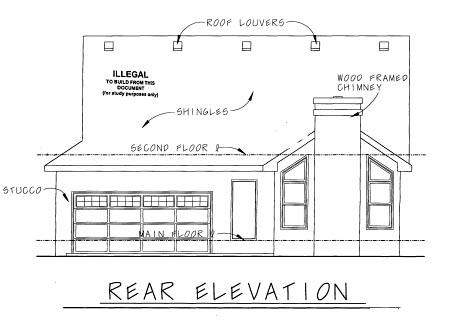 Cottage Craftsman House Plan 69093 Rear Elevation