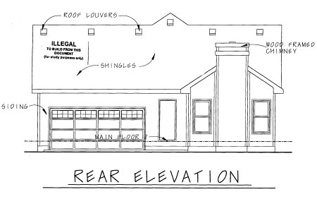 Bungalow Craftsman House Plan 69094 Rear Elevation