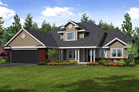 House Plan 69100 | Traditional Style Plan with 2193 Sq Ft, 4 Bedrooms, 3 Bathrooms, 2 Car Garage Elevation