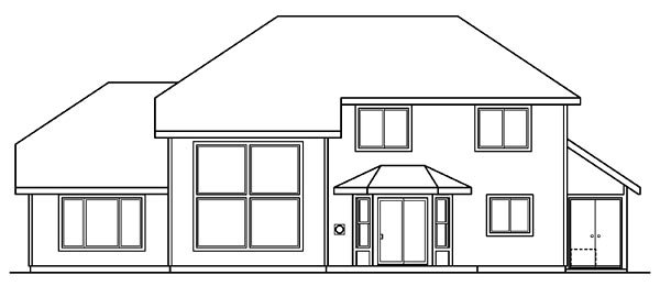 House Plan 69100 | Traditional Style Plan with 2193 Sq Ft, 4 Bedrooms, 3 Bathrooms, 2 Car Garage Rear Elevation