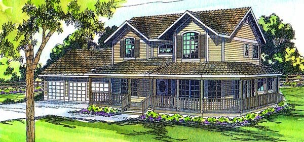 Country, Farmhouse House Plan 69102 with 4 Beds, 4 Baths, 3 Car Garage Elevation