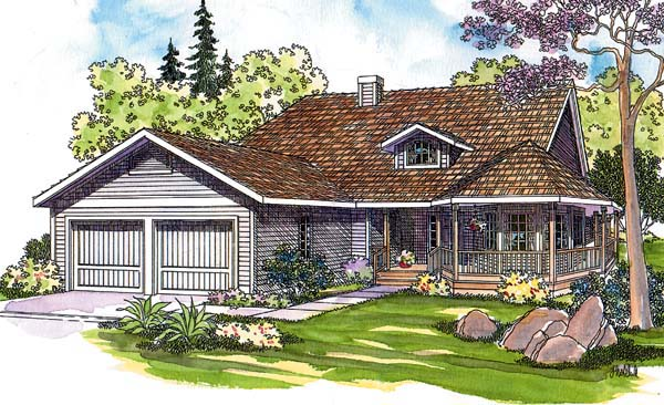 Country One-Story Southern Traditional Elevation of Plan 69104