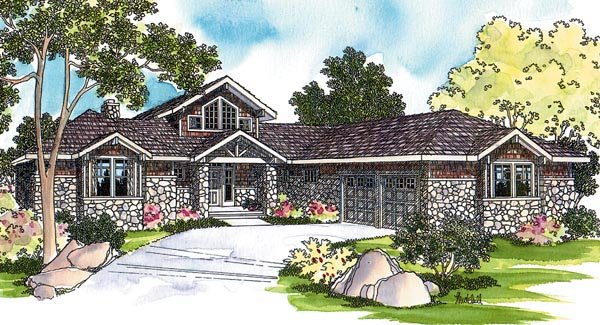 Craftsman Ranch Traditional House Plan 69109 Elevation