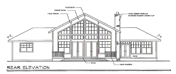 House Plan 69109 | Craftsman Ranch Traditional Style Plan with 2556 Sq Ft, 3 Bed, 3 Bath, 2 Car Garage Rear Elevation