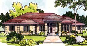 House Plan 69111 | Mediterranean Style Plan with 2692 Sq Ft, 3 Bedrooms, 3 Bathrooms, 2 Car Garage Elevation