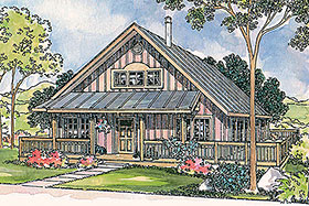Bungalow, Cabin, Country, Southern House Plan 69112 with 2 Beds, 2 Baths Elevation