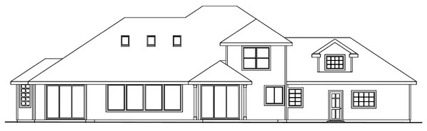 House Plan 69114 | Traditional Style House Plan with 2964 Sq Ft, 3 Bed, 3 Bath, 2 Car Garage Rear Elevation