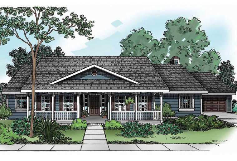 House Plan 69115 | Country Ranch Style Plan with 2083 Sq Ft, 4 Bedrooms, 2 Bathrooms, 2 Car Garage Elevation