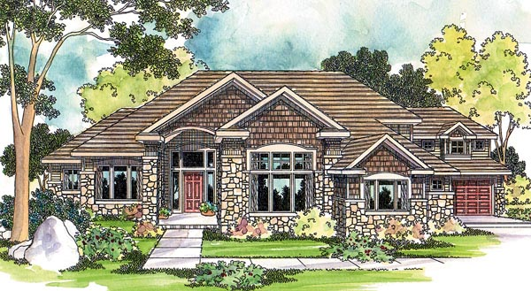 Contemporary Craftsman Traditional House Plan 69121 Elevation