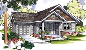 House Plan 69124 | Country Craftsman Farmhouse Traditional Style Plan with 1426 Sq Ft, 3 Bedrooms, 2 Bathrooms, 1 Car Garage Elevation