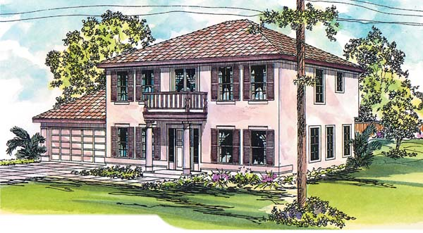 Colonial, Mediterranean House Plan 69127 with 3 Beds , 3 Baths , 2 Car Garage Elevation