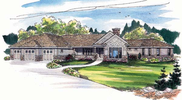 Bungalow, One-Story, Traditional House Plan 69128 with 3 Beds, 4 Baths, 2 Car Garage Elevation