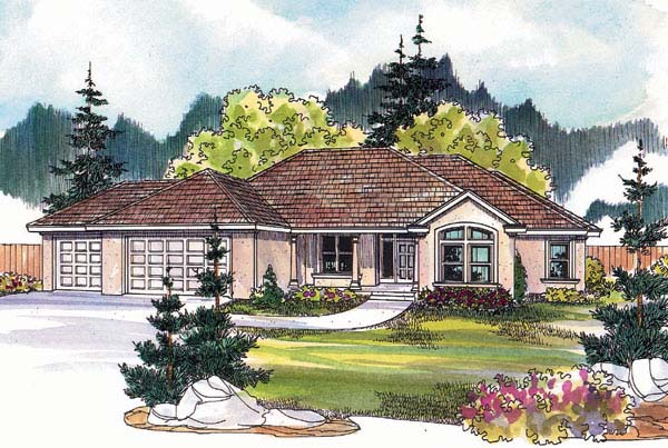 European House Plan 69137 with 5 Beds, 3 Baths, 2 Car Garage Elevation