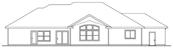 European House Plan 69137 with 5 Beds, 3 Baths, 2 Car Garage Rear Elevation