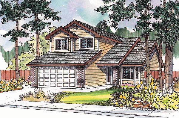 Traditional , Contemporary House Plan 69142 with 3 Beds, 3 Baths, 2 Car Garage Elevation