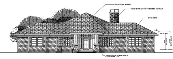 Contemporary House Plan 69143 Rear Elevation