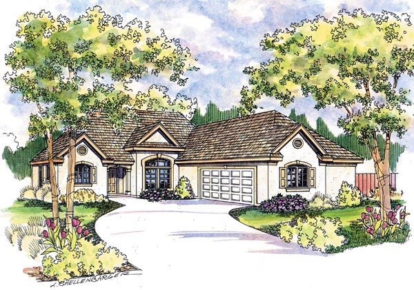 European , Florida , Mediterranean , Ranch House Plan 69145 with 3 Beds, 2 Baths, 2 Car Garage Elevation