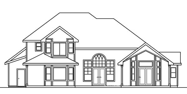 European House Plan 69152 Rear Elevation