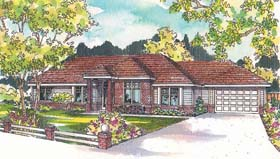 Contemporary House Plan 69153 with 3 Beds, 3 Baths, 2 Car Garage Elevation