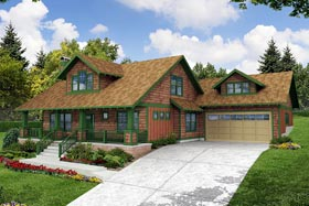 House Plan 69154 | Bungalow Cape Cod Country Style Plan with 2049 Sq Ft, 3 Bedrooms, 3 Bathrooms, 2 Car Garage Elevation