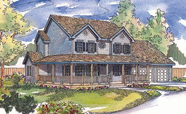 Country, Farmhouse, Southern House Plan 69155 with 3 Beds, 3 Baths, 3 Car Garage Elevation