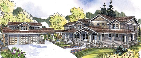 Bungalow Cape Cod Country Craftsman Elevation of Plan 69156