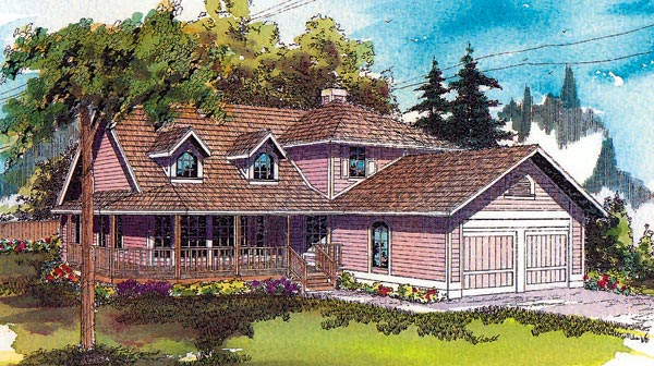 Country House Plan 69159 with 3 Beds, 2 Baths, 2 Car Garage Elevation