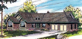 House Plan 69163 | Ranch Style Plan with 2630 Sq Ft, 3 Bedrooms, 2.5 Bathrooms, 2 Car Garage Elevation