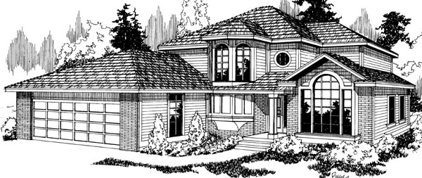 Southwest, Traditional House Plan 69173 with 4 Beds, 2.5 Baths, 2 Car Garage Elevation