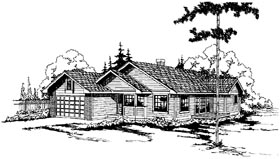 One-Story , Ranch House Plan 69175 with 3 Beds, 2 Baths, 2 Car Garage Elevation