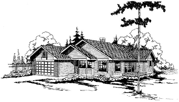 One-Story , Ranch , Elevation of Plan 69175