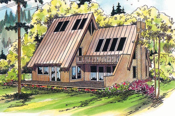 House Plan 69180 | Contemporary Style Plan with 1839 Sq Ft, 3 Bedrooms, 2 Bathrooms Elevation