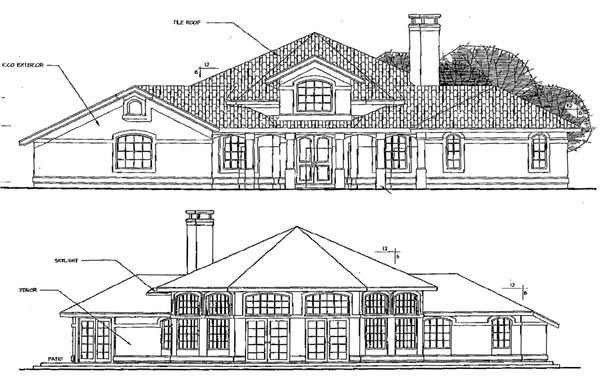 Contemporary Rear Elevation of Plan 69182