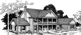 House Plan 69186 | Colonial Country Style Plan with 3774 Sq Ft, 4 Bedrooms, 3.5 Bathrooms, 3 Car Garage Elevation