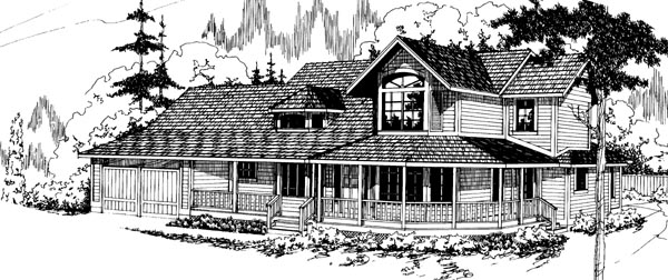 Contemporary Country Traditional Victorian Elevation of Plan 69190