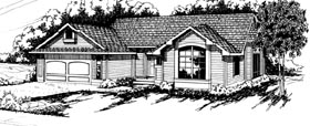 House Plan 69195 | Country Ranch Style Plan with 1844 Sq Ft, 3 Bedrooms, 2 Bathrooms, 2 Car Garage Elevation