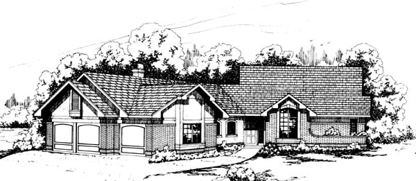 Country House Plan 69196 with 3 Beds, 2.5 Baths, 3 Car Garage Elevation