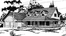 House Plan 69203 | Country Farmhouse Style Plan with 2591 Sq Ft, 3 Bedrooms, 2.5 Bathrooms, 2 Car Garage Elevation