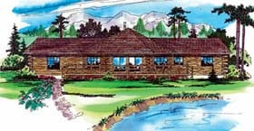 Log House Plan 69205 with 2 Beds, 2 Baths Elevation