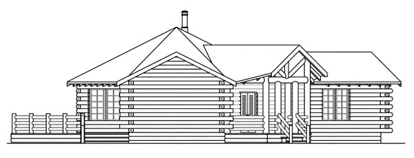 Log, One-Story House Plan 69205 with 2 Beds, 2 Baths Picture 1